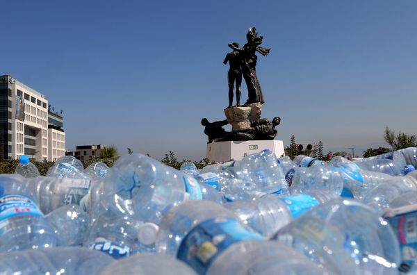 Empty plastic bottles pile up to be recycled in Martyrs' Square, Beirut, Lebanon, on Aug. 28, 2015.