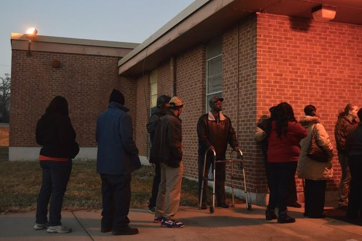A line outside of municipal court in Kinloch, a town near Ferguson.