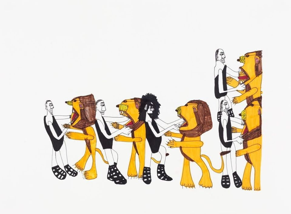"<span class='image-component__caption' itemprop=""caption"">Lion Tamer Dance Party by Kate Thompson © 2015 Creativity Explored Licensing, LLC, marker on paper, 22 x 30 inches</span>"