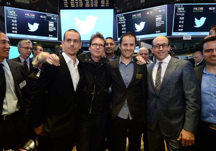 Twitter executives celebrate the company's IPO.