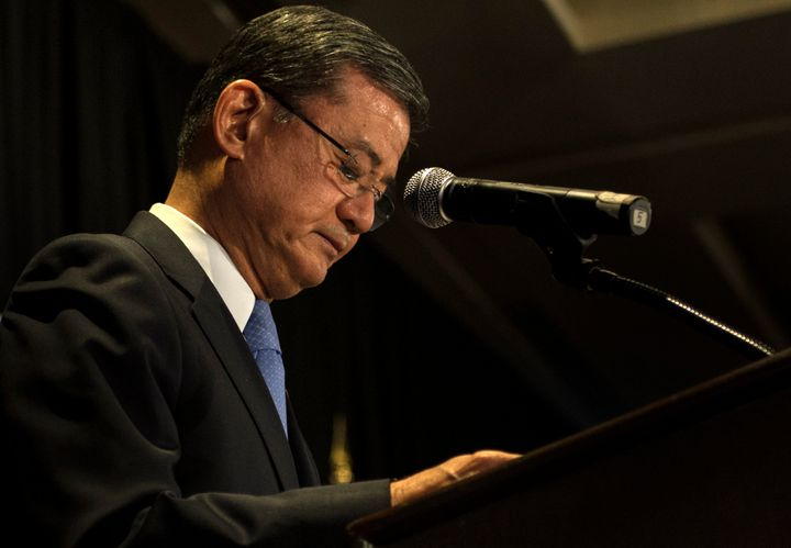 Veterans Affairs Secretary Eric Shinseki resigned after a scandal regarding wait times at the VA.