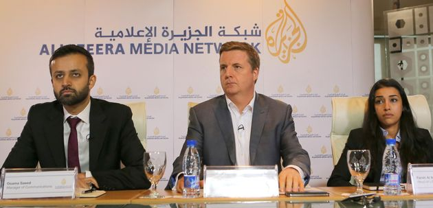 "<span class='image-component__caption' itemprop=""caption""><span class=""s1"">Osama Saeed (L), Manager of Communications of Al Jazeera English, Giles Trendle (C), managing director of Al Jazeera English and Farah Al-Muftah, Head of Litigation, attend a press conference following the verdict in the </span>case of three Al-Jazeera journalists in the Qatari capital, Doha, on August 29, 2015. </span>"