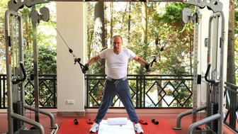 <p>Russia's President Vladimir Putin works out at Bocharov Ruchei residence in Sochi, Russia on August 30,2015.</p>
