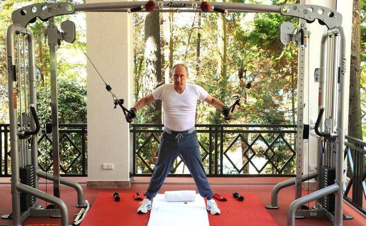 Russia's President Vladimir Putin works out at Bocharov Ruchei residence in Sochi, Russia on August 30,2015.