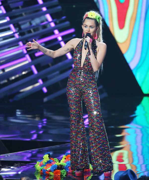LOS ANGELES, CA - AUGUST 30:  Miley Cyrus speaks onstage during the 2015 MTV Video Music Awards held at Microsoft Theater on