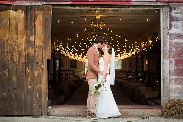 """""""Rachael and Mike had a romantic mountaintop ceremony in the Catskill Mountains and an elegant evening reception in a renovat"""