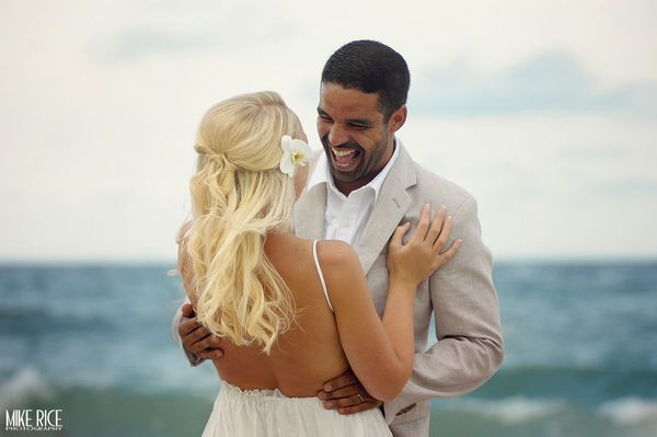 """""""Kelly and Yusef tie the knot on the beach on Singer Island in South Florida on August 28."""" - Mike Rice"""