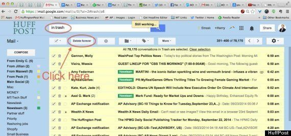 how to delete all the trash in gmail