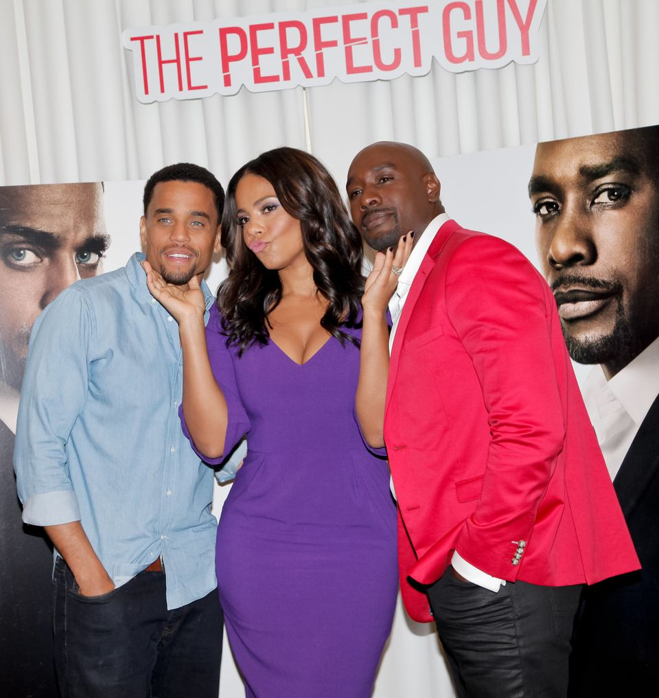 LOS ANGELES, CA - AUGUST 29:  (L-R) Michael Ealy, Sanaa Lathan and Morris Chestnut attend 'The Perfect Guy' photo call at SLS