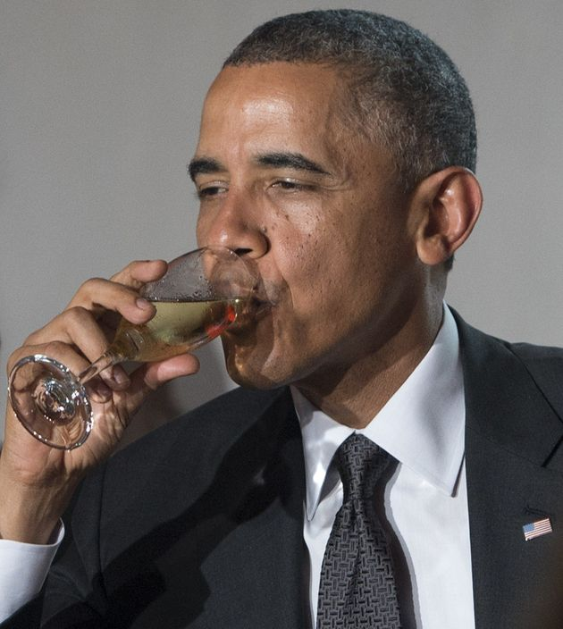 Obama drinking something that is not
