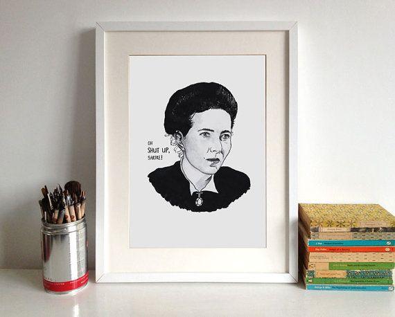 "<em>Buy it <a href=""https://www.etsy.com/listing/124434753/simone-de-beauvoir-literary-poster-print?ga_order=most_relevant"">h"