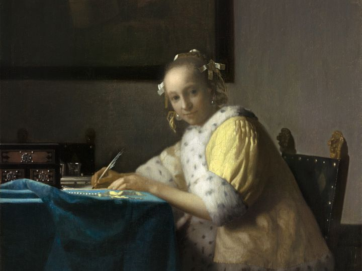 Johannes Vermeer, A Lady Writing, about 1665. Oil on canvas. National Gallery of Art, Washington, Gift of Harry Waldron Havem