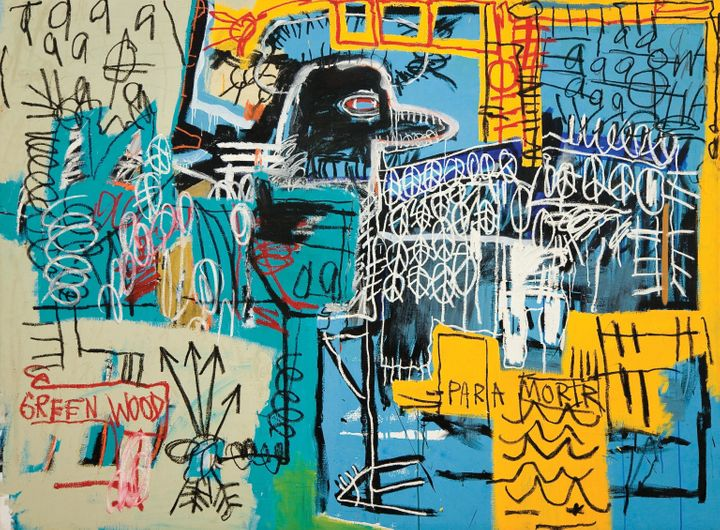 Bird On Money, Jean-Michel Basquiat , 1981, acrylic and oil on canvas. Rubell Family Collection, Miami