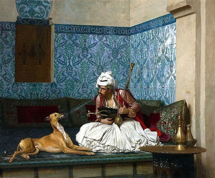 "Jean-Léon Gérôme, ""Arnaut Blowing Smoke in His Dog's Nose,"" 19th century, Wikimedia Commons"