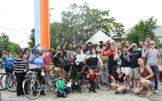 <p>People on the Core City Stories bike tour learned from Core City residents about the Detroit neighborhood and its history. </p>
