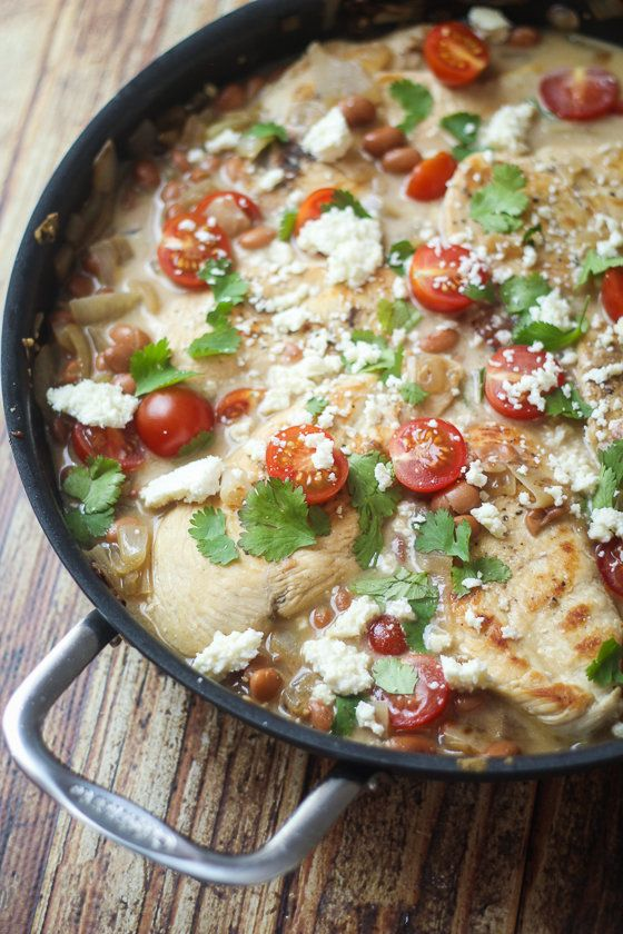 "<strong>Get the <a href=""http://thewanderlustkitchen.com/saucy-mexican-chicken-skillet/"" target=""_blank"">Saucy Mexican Chicke"