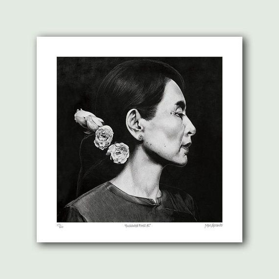 "<em>Buy it <a href=""https://www.etsy.com/listing/238222635/aung-san-suu-kyi-artist-print-on?ga_order=most_relevant"">here</a>."