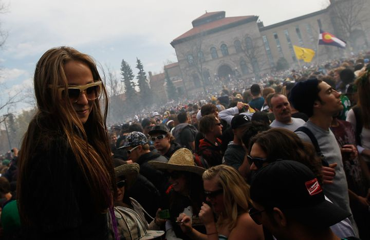 People gathered on the University of Colorado at Boulder campus for a 4/20 celebration.