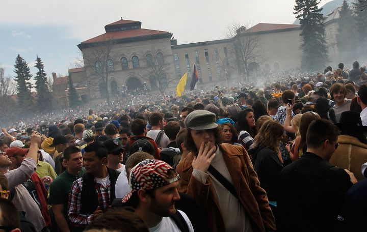 People gathered on the campus of CU Boulder for a 4/20 celebration.