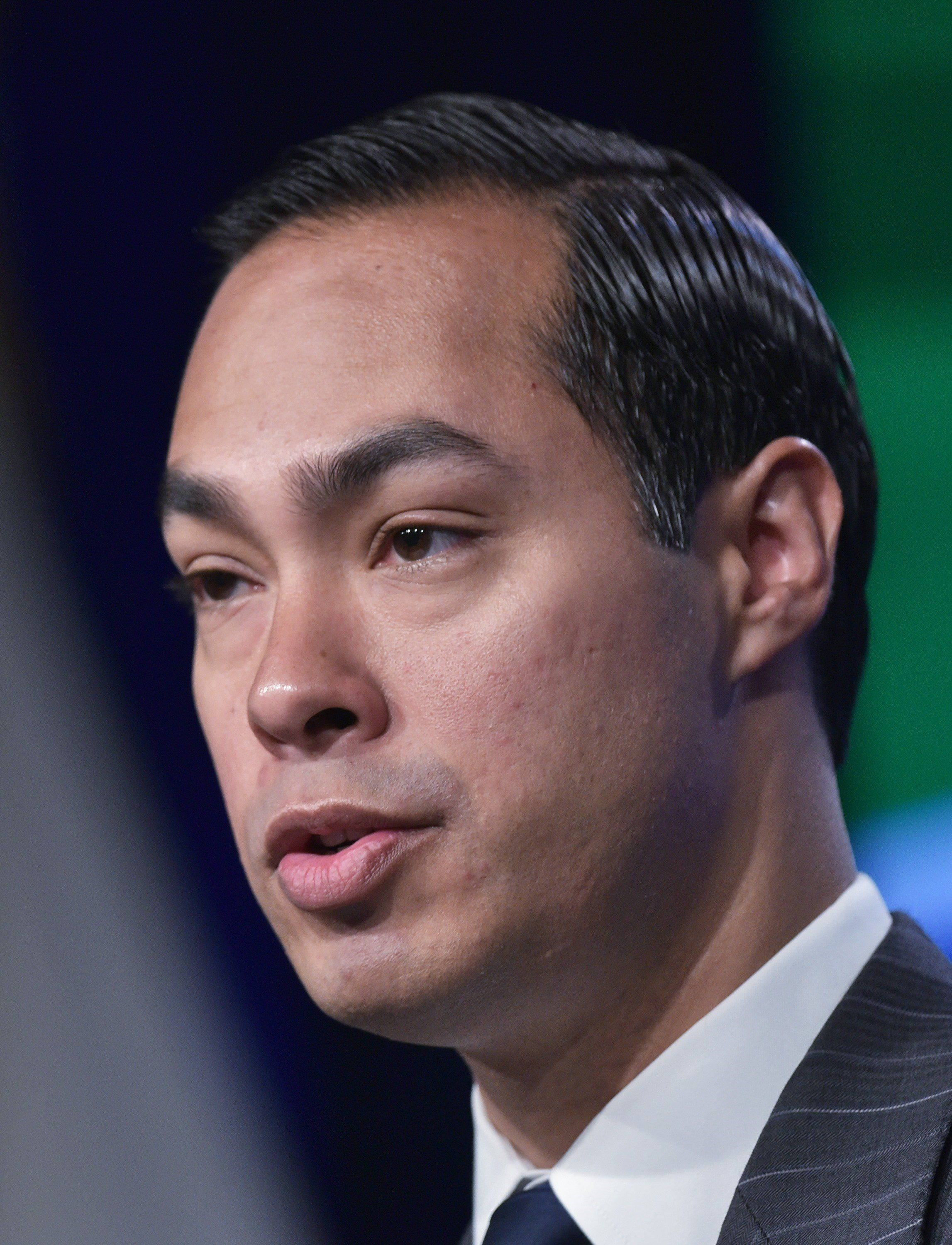 Housing and Urban Development Secretary Julian Castro briefs reporters on the progress of long-term disaster recovery efforts 10 years ater Hurricane Katrina on August 18, 2015 at the Department of Housing and Urban Development in Washington, DC. On August 29, 2005, Hurricane Katrina slammed into the Gulf Coast of the United States, forcing more than a million people from their homes and tragically taking more than 1,800 lives.  Katrina remains the most devastating and costliest natural disaster in our nations history.  AFP PHOTO/MANDEL NGAN        (Photo credit should read MANDEL NGAN/AFP/Getty Images)