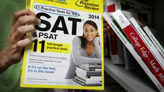 MIAMI, FL - MARCH 06:  A Princeton Review SAT Preparation book is seen on March 6, 2014 in Miami, Florida. Yesterday, the College Board announced the second redesign of the SAT this century, it is scheduled to take effect in early 2016.(Photo by Joe Raedle/Getty Images)