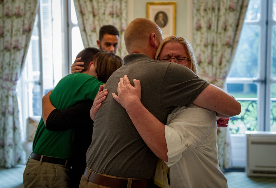 <span>U.S. Airman 1st Class Spencer Stone hugs his mother for the first time in Paris Aug. 24, 2015, following a foiled attac