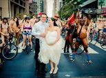 Couple Takes NSFW Wedding Pics In The Midst Of A Naked Bike Ride