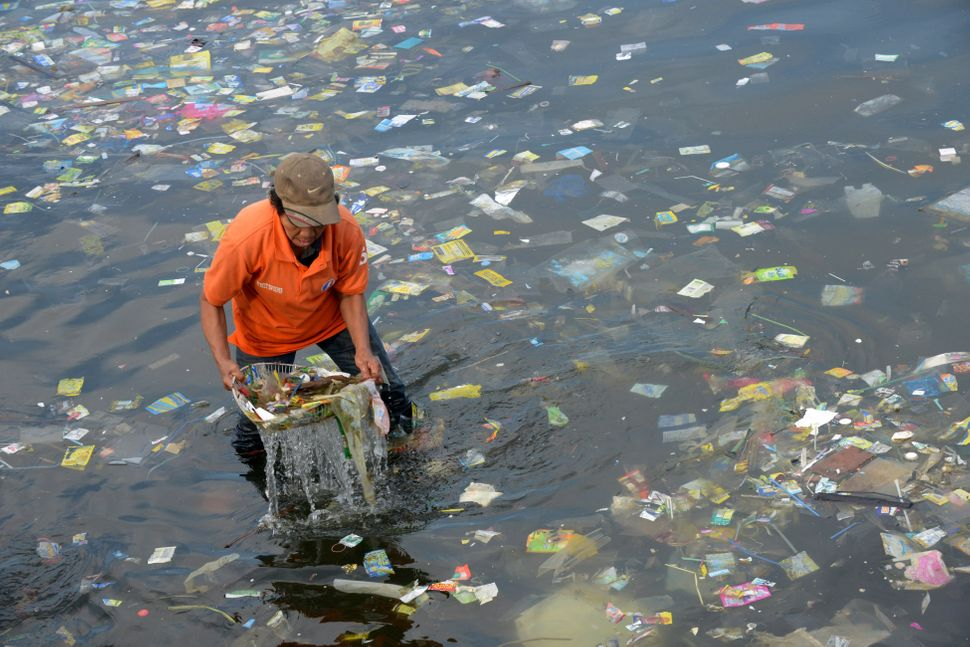 An activist collects plastic bags and other types of garbage from the Manila Bay on July 3, 2014.