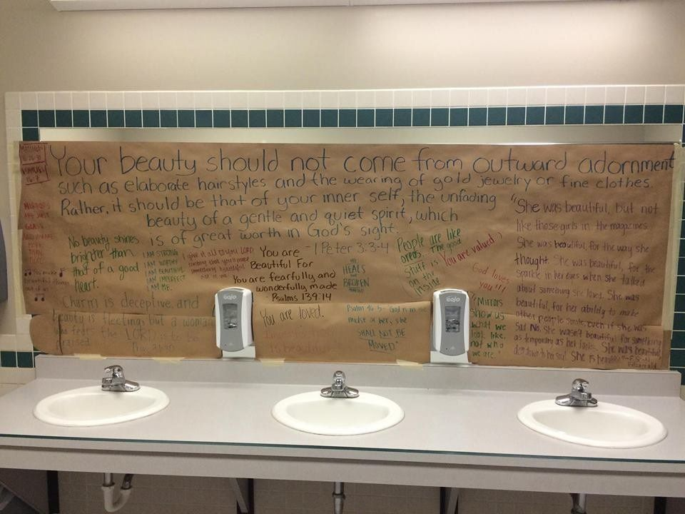 students cover up girlsu0027 bathroom mirrors to stress god over looks huffpost