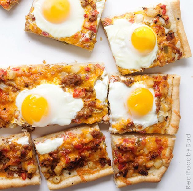 Deep Fried Breakfast Pizza With Sausage, Eggs, Parmesan, And ...