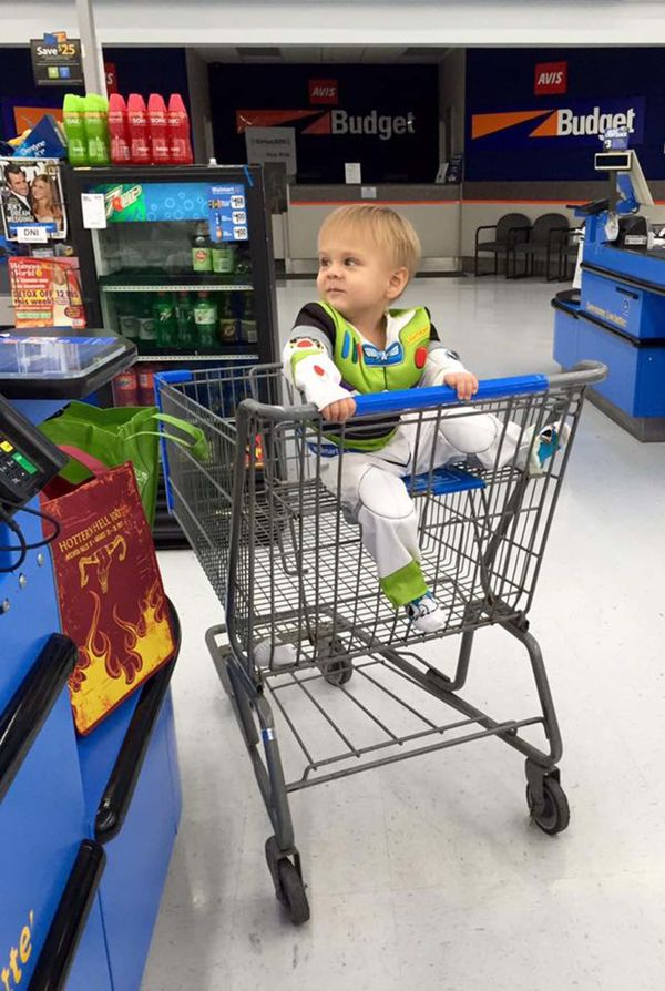 "<span>""Halloween costume in July. Only way to get him to go to the grocery store peacefully.""</span>"