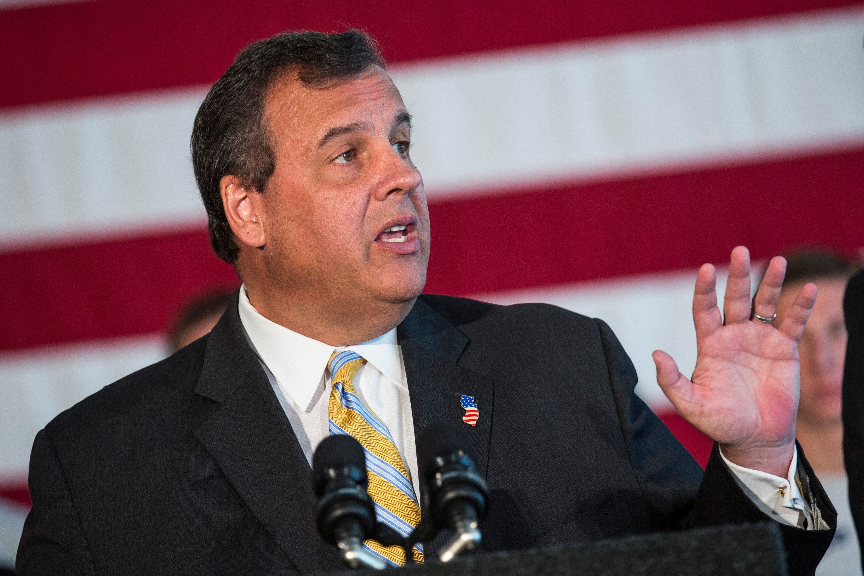 NEW BRUNSWICK, NJ - AUGUST 25:  New Jersey Governor and Republican presidential hopeful Chris Christie speaks at Chabad House at Rutgers University to express his opposition to President Obama's Iran deal on August 25, 2015 in New Brunswick, New Jersey. Christie also encouraged U.S. Senator Cory Booker (D-NJ) to oppose the deal.  (Photo by Andrew Burton/Getty Images)