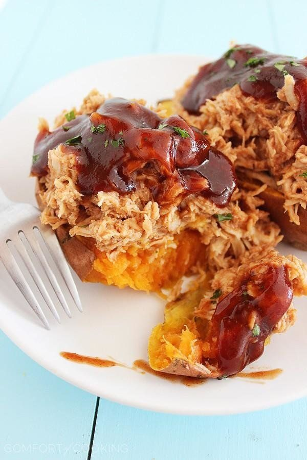 """<strong>Get the <a href=""""http://www.thecomfortofcooking.com/2014/10/3-ingredient-bbq-chicken-stuffed-sweet-potatoes.html"""">3-I"""