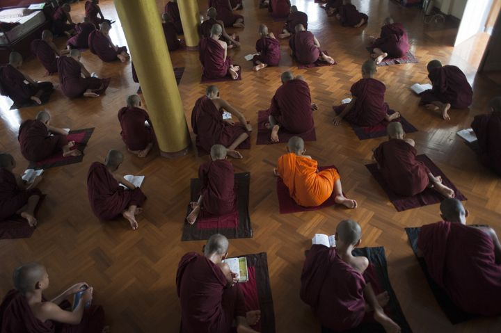 In this picture taken on June 23, 2015, Buddhist monks study at a monastery affiliated with the Ma Ba Tha organization (Commi