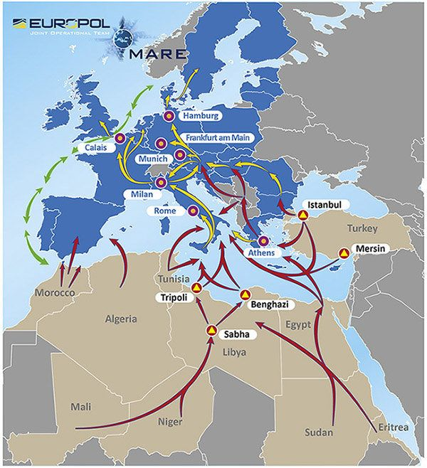 Earlier this year, Europol published a map outlining migratory and human smuggling patterns from Africa and the Middle East t