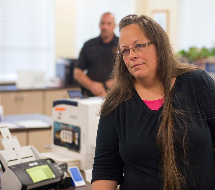 <p>Rowan County Clerk Kim Davis still refuses to issue marriage licenses to same-sex couples.</p>