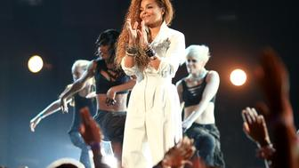 LOS ANGELES, CA - JUNE 28:  Honoree Janet Jackson performs onstage during the 2015 BET Awards at the Microsoft Theater on June 28, 2015 in Los Angeles, California.  (Photo by Christopher Polk/BET/Getty Images for BET)