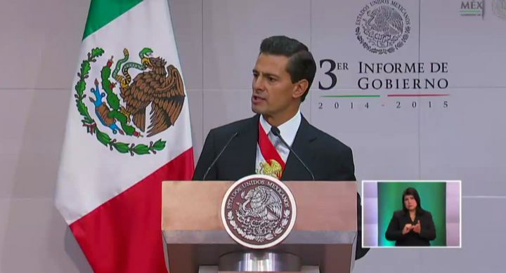 Mexican President Enrique Peña Nieto delivered his third state of the union speech on Sept. 2, 2015.