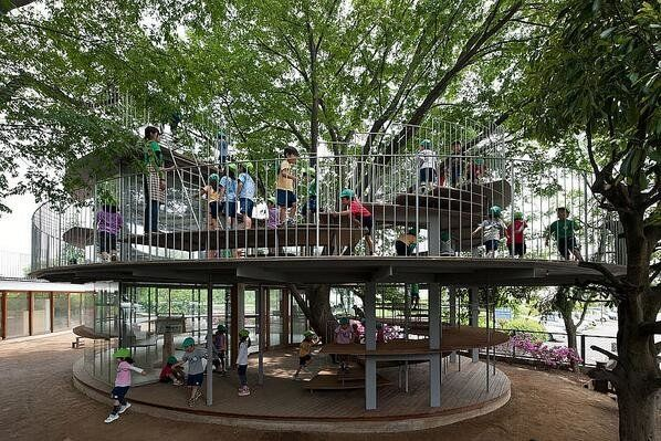 Where: Tokyo, Japan  This is the coolest classroom we've ever seen! This building doubles as a classroom and playground for s