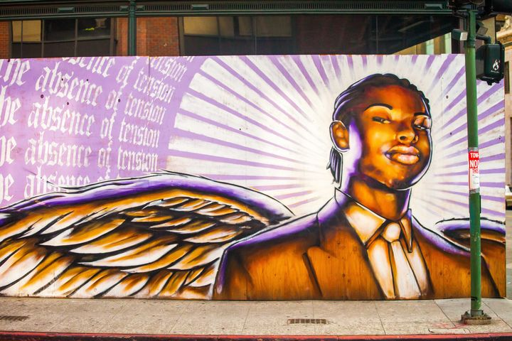 An Oakland mural of Oscar Grant, who was shot and killed by a BART police officer in 2009 -- three years before the founding