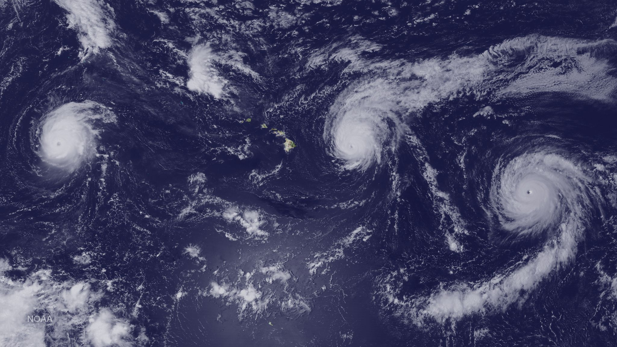 This satellite image taken Aug. 31 shows Hurricanes Kilo (left), Ignacio (center) and Jimena (right) surrounding the Hawaiian