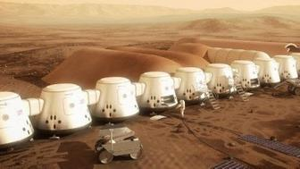 Illustration of how a Mars colony might look.