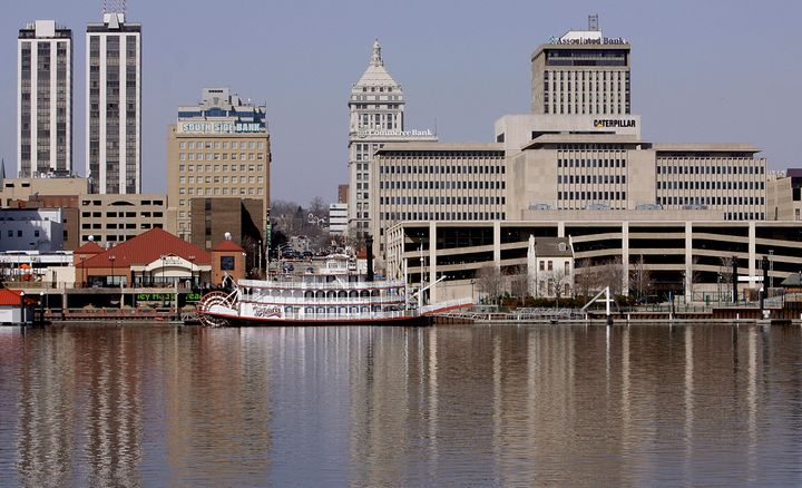<span>This Mar. 6, 2009, file photo shows the Peoria, Ill., skyline along the Illinois River.&nbsp;</span>