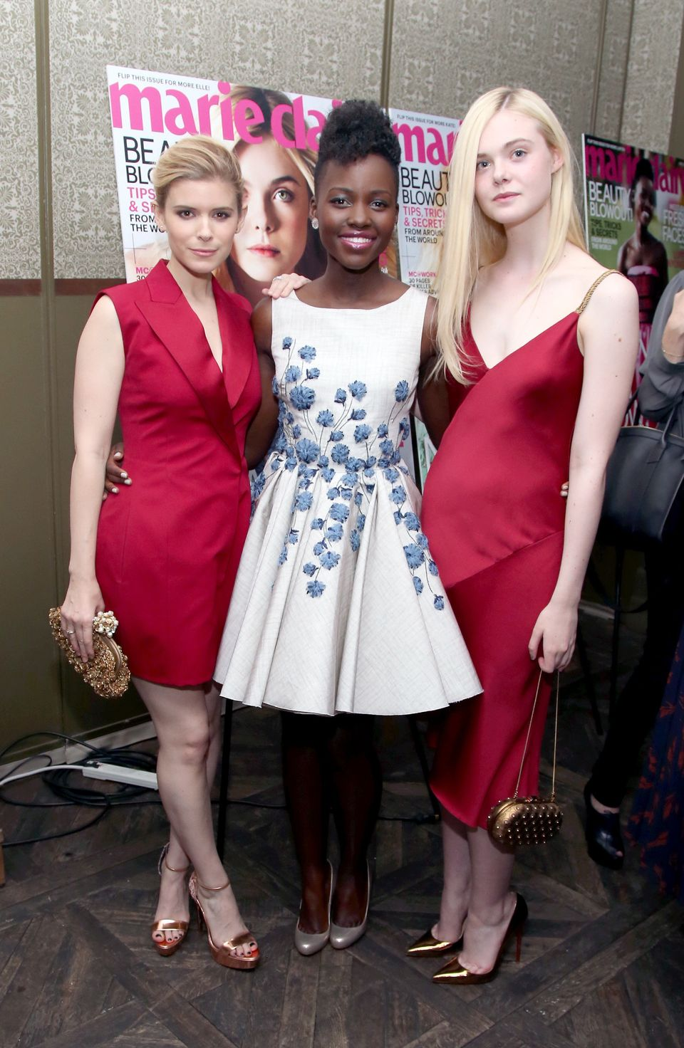 WEST HOLLYWOOD, CA - APRIL 08:  (L-R) Actors Kate Mara, Lupita Nyong'o and Elle Fanning attend Marie Claire Celebrates May Co
