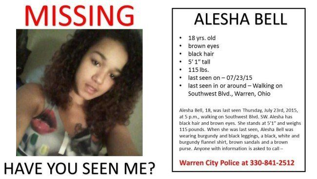 The missing person flyer for Alesha Bell.