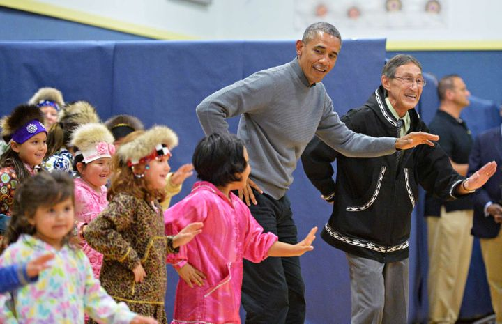 Obama joined children in a dance on Wednesday.