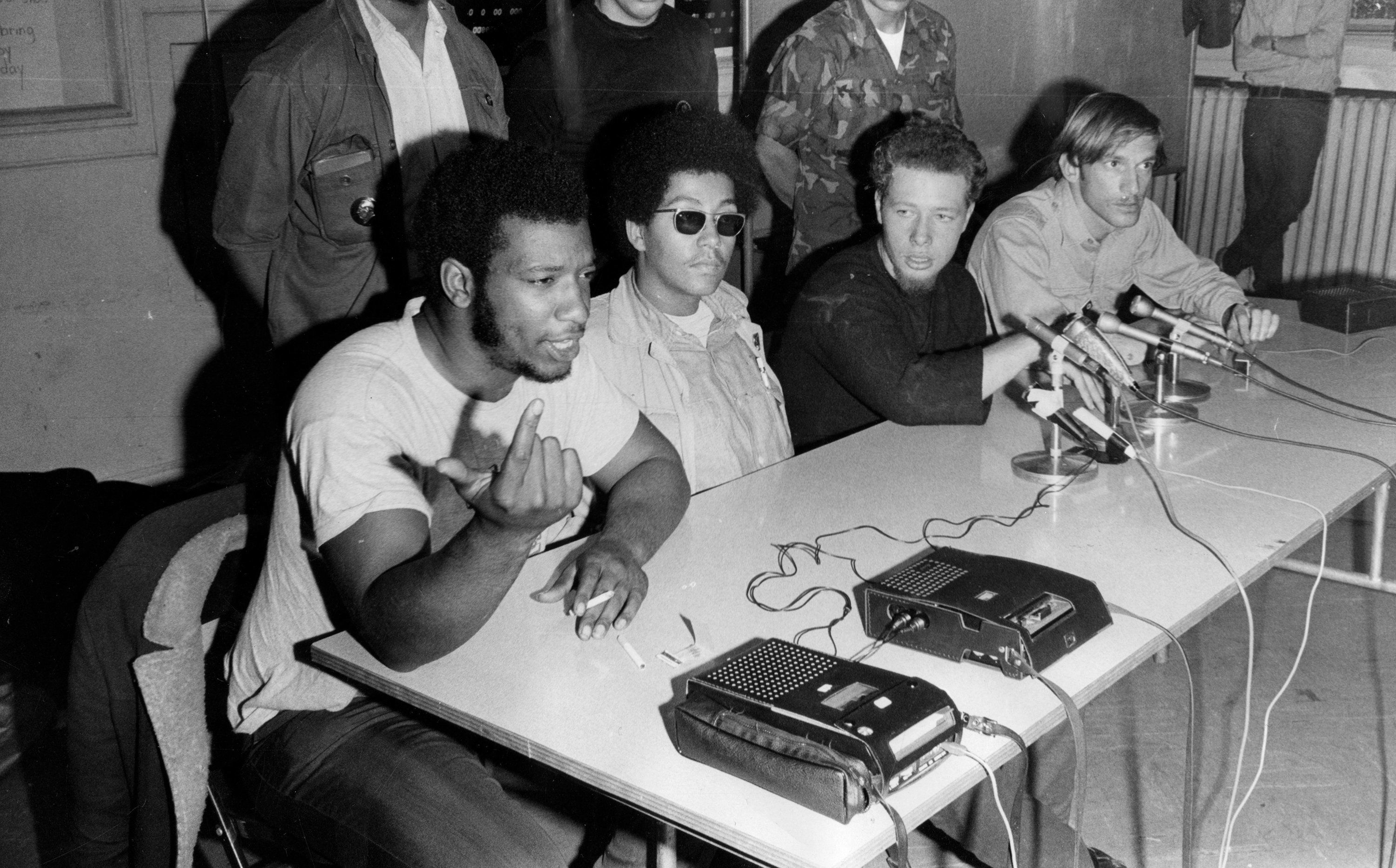 Fred Hampton, left, chairman of the Black Panthers, speaks during a press conference with the Young Lords, a Puerto Rican civil and human rights group, on Oct. 10, 1969, at Holy Covenant United Methodist Church in Chicago. With Hampton are, from left, Pablo 'Yoruba' Guzman, a Young Lord from New York; Jose 'Cha-Cha' Jimenez, founder of the Young Lords of Chicago; and Mike Klonsky, a spokesman for Students for a Democratic Society. (Dave Nystrom/Chicago Tribune/TNS via Getty Images)