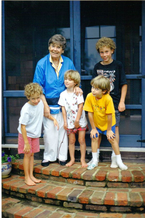 """This is Helene Krasnow, in 1996, with her four grandsons in Maryland. The boys are now 25, 23 and the twins are 21. Helene,"