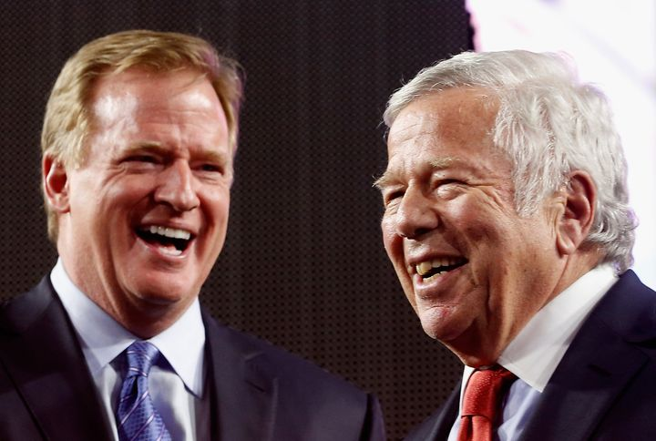 NFL Commissioner Roger Goodell, left, is seen with New England Patriots owner Robert Kraft, Feb. 1, 2015.