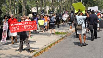 <p>People&nbsp;gathered across from the federal courthouse in Brooklyn on Thursday to protest the raid on&nbsp;Rentboy.com last week.</p>